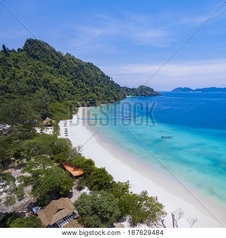 beautiful white sand beach of nyaung oo phee island andaman sea southern of myanmar