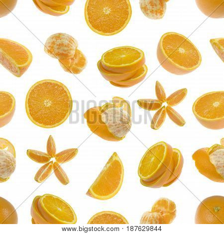 Seamless pattern of oranges isolated on white background