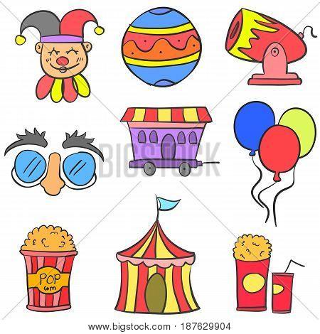 Collection cute doodle circus theme vector art