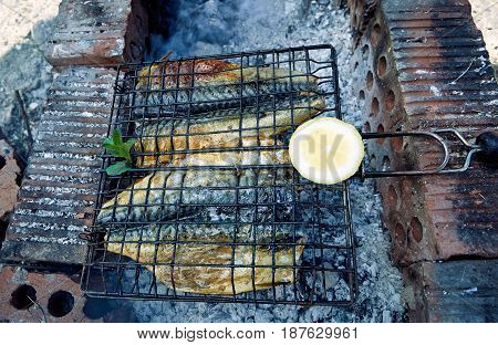 Fresh fish with sauce cooked on the grill in the courtyard.