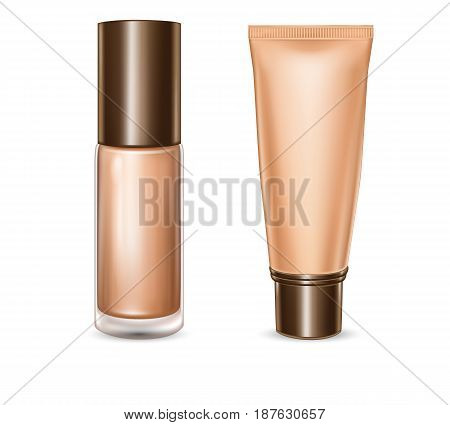 Vector 3d illustration of package design for tonal basis, tube and bottle with foundation cream in realistic style isolated on white