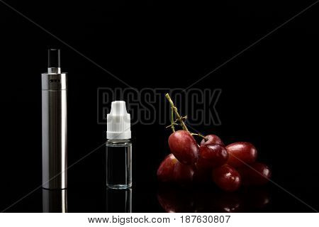 Electronic cigarette with grape flavor concept on a black background