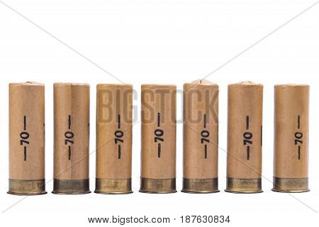 Hunting cartridges from a gun stand in a row on a white background