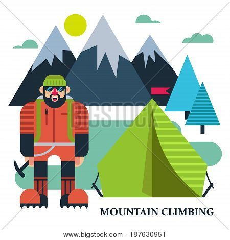 Climber at tents amidst the mountains. Vector illustration extreme sports. Climbing, mountaineering, rock climbing