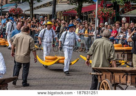 Alkmaar Netherlands - August 5 2016: Cheese market. Alkmaar is well known for its traditional cheese market. For tourists it is a popular cultural destination