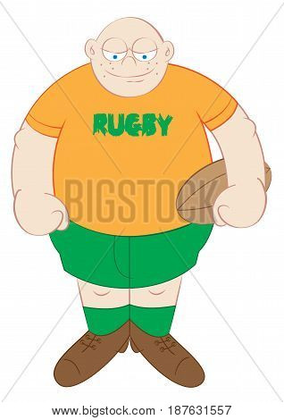 big tough rugby player cartoon vector illustration
