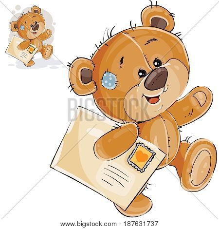 Vector illustration of a brown teddy bear carries in its paw a letter. Print, template, design element
