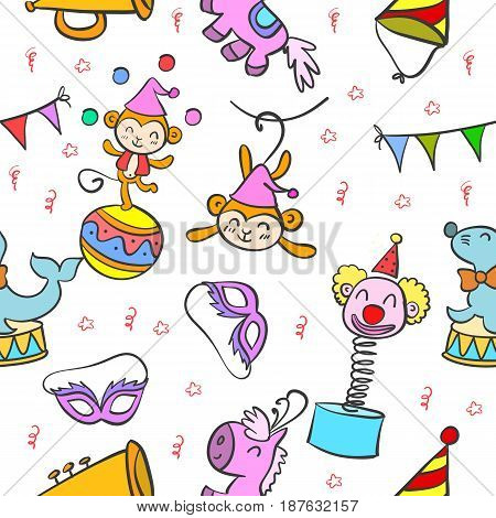 Circus element colorful doodle style vector illustration