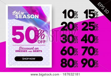 End of Season Sale Banner with Flying Satin on Lavender Background and Polka Dot Pattern. Advertising Template for Cloth Shop Online Store Web Banner Pop-Up Poster Flyer.