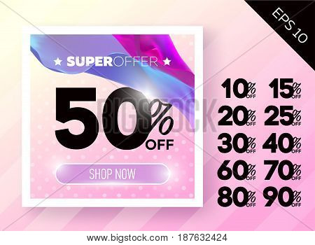 Beautiful Spring Sale Poster with Polka Dot Peachy Background. Ready Bright Vector Sale Template. Advertising For Shop Online Store Web Banner Pop-up Poster Flyer.