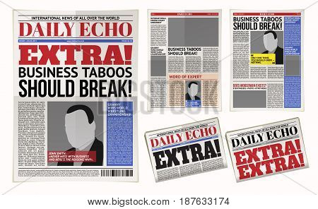 Vector illustration of a daily newspaper template, tabloid, layout posting reportage