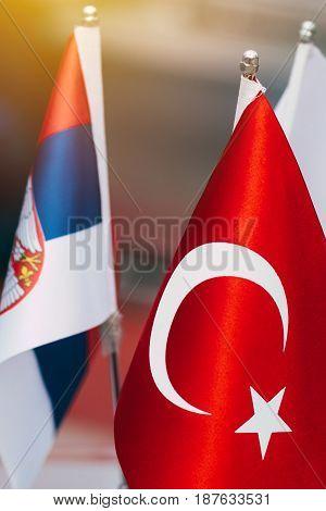 Flags of Turkey and Serbia selective focus