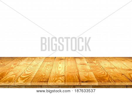Empty wood table perspective for product placement or montage. Wood table perspective. Wood table surface. Rustic wood table background. Large dinner empty wood table perspective. Wood table texture background. Wood table perspective worktop.