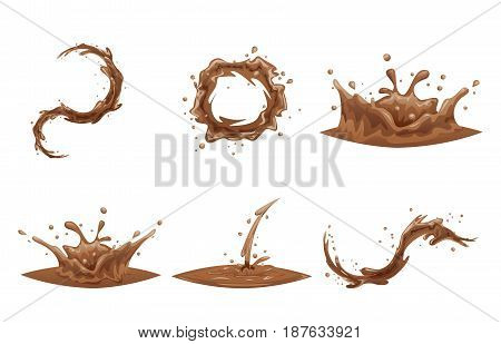 Chocolate Flowing Splash Drop Wave Whirlpool Cartoon Vortex Icon Set Isolated Design Vector Illustration