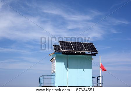 Rescue station with solar panels on the roof.