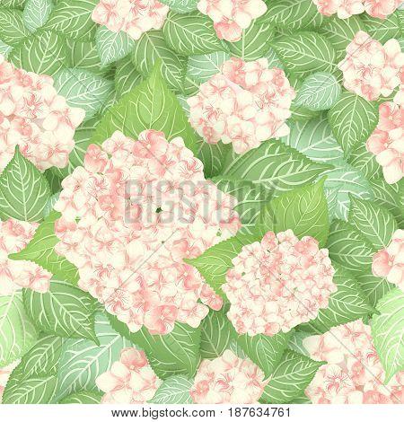 seamless pink hydrangea flower pattern floral background