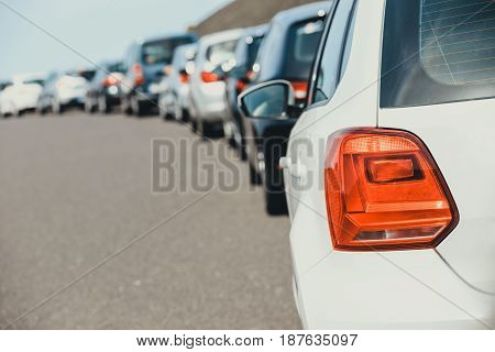 Traffic jam with a lot of cars on the way