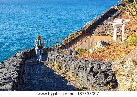 Promenade in Marina Rubicon in Playa Blanca Lanzarote Canary Island Spain