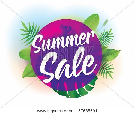 Summer sale. Vector background with typography for posters and banners. Illustration with tropical leaves and sun.