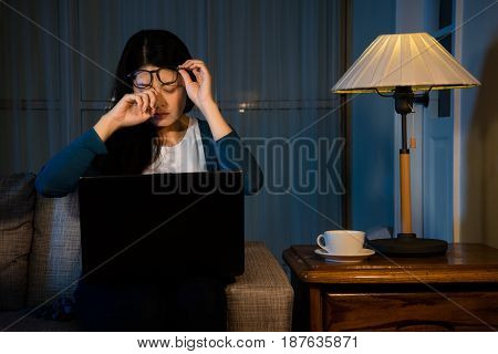 Woman Rubbing Her Eyes Feel Painful