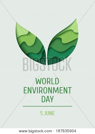 World Environment day concept banner. 3d paper cut eco friendly background. Vector illustration.  Paper carving layer green leaves shapes with shadow