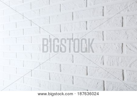 Background of the white brick wall, close up