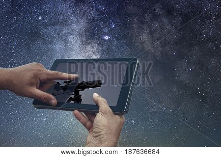 Space Astronomy Exploration Concept. Night Sky Tablet Telescope