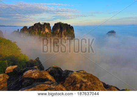 Spring Colors. Spring Sunrise Above Rocks And Fresh Green Forest, Colorful Valley Full Of Dense Mist