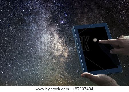 Space Astronomy Exploration Concept. Jupiter Planet Tablet.