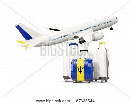 Luggage With Flag Of Barbados. Three Bags With Airplane