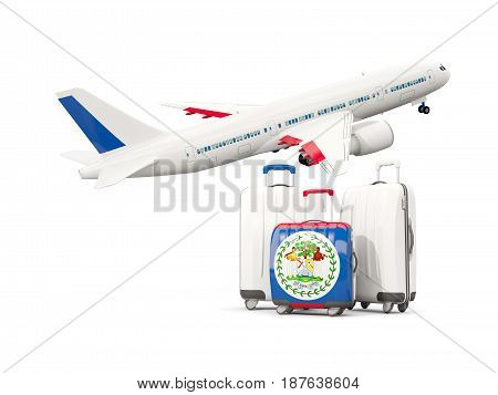 Luggage With Flag Of Belize. Three Bags With Airplane