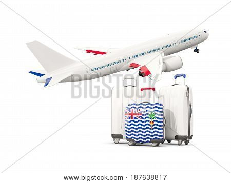 Luggage With Flag Of British Indian Ocean Territory. Three Bags With Airplane