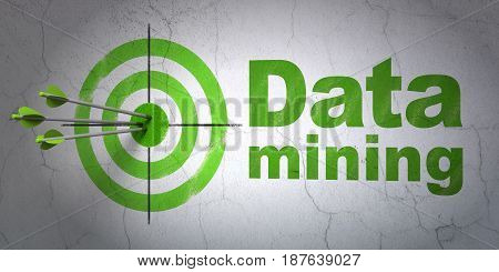Success Data concept: arrows hitting the center of target, Green Data Mining on wall background, 3D rendering