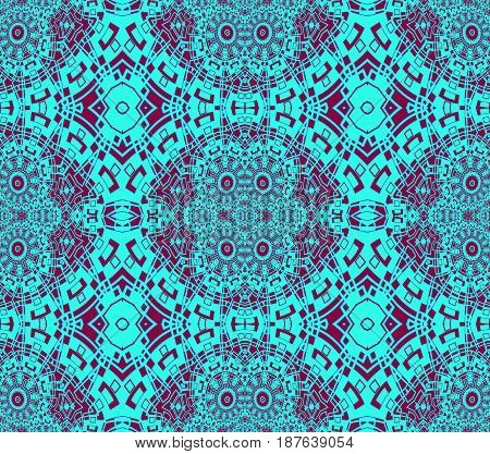 Abstract geometric seamless background. Regular intricate ornaments dark red and turquoise, ornate and extensive.