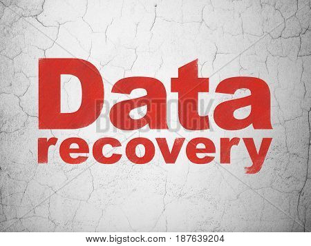 Information concept: Red Data Recovery on textured concrete wall background