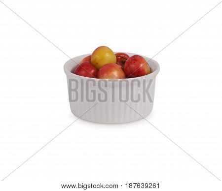 cherry fruit isolated on white background. Ripe cherry close-up. Background berry. Sweet and juicy berry with copy space for text.