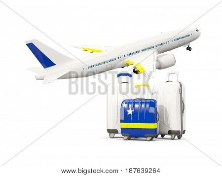 Luggage With Flag Of Curacao. Three Bags With Airplane