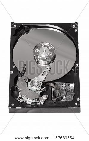Old Hard Disk Drive isolated on a white background