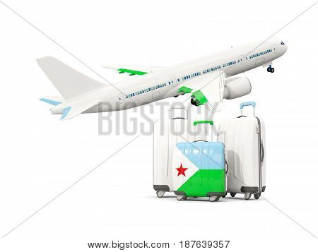 Luggage With Flag Of Djibouti. Three Bags With Airplane