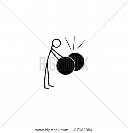 Cartoon icon of sketch stick musician figure vector in cute miniature scene.
