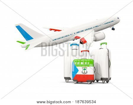 Luggage With Flag Of Equatorial Guinea. Three Bags With Airplane