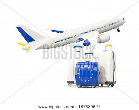Luggage With Flag Of European Union. Three Bags With Airplane