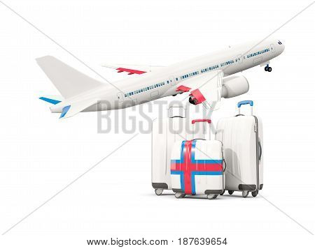 Luggage With Flag Of Faroe Islands. Three Bags With Airplane