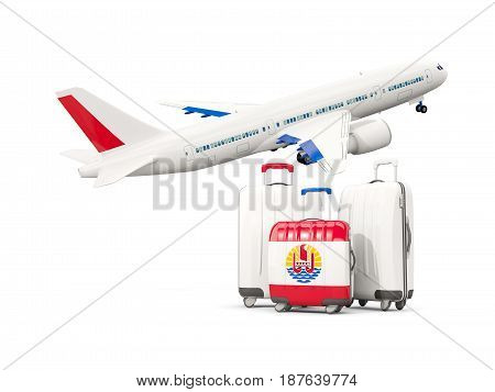 Luggage With Flag Of French Polynesia. Three Bags With Airplane