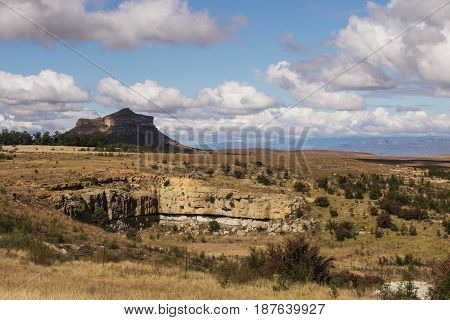 Orange Colored Grass Against Rocky Mountain And Blue Sky