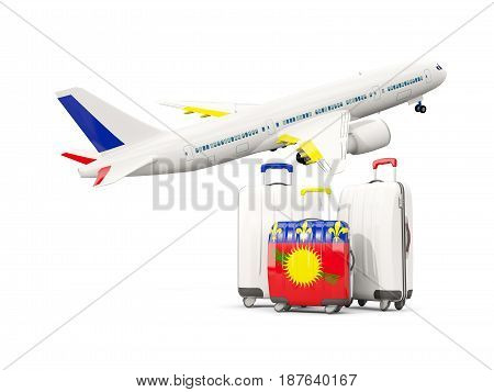 Luggage With Flag Of Guadeloupe. Three Bags With Airplane