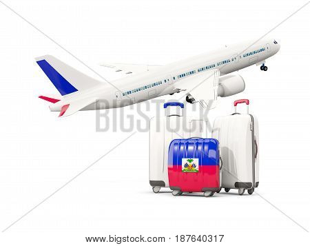 Luggage With Flag Of Haiti. Three Bags With Airplane