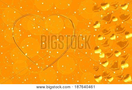 Background gold color with hearts of different sizes