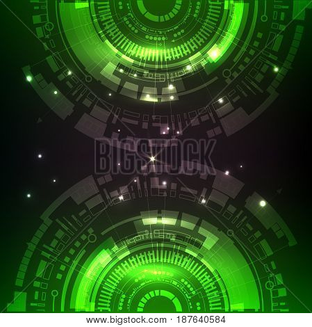 2 half-circles, green color on black background. High technology vector illustration