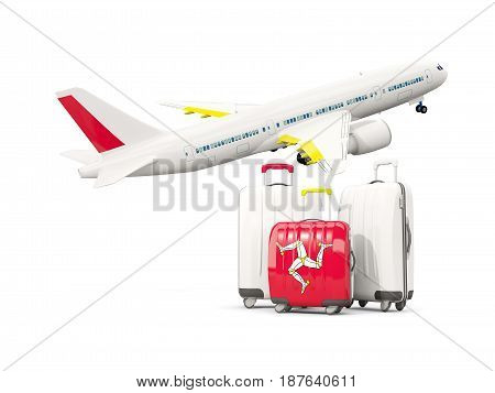 Luggage With Flag Of Isle Of Man. Three Bags With Airplane